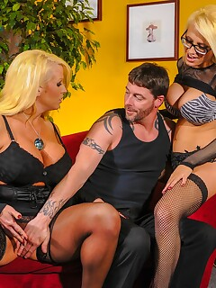Blonde MILFs Jacky Joy and Alura Jenson seducing man wearing black lingerie