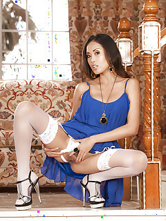 Stockings model Beverly is demonstrating her Asian ass in high heels