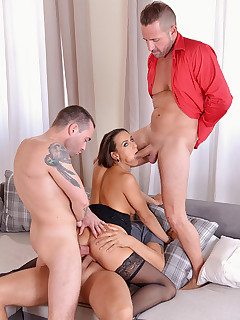 The Studs And The Babe: Hot Czech Chick Gets Stuffed By Three Ro free photos and videos on DDFNetwork.com
