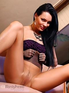 aPantyhose - Long sexy legs of DeeDee brunette in nude pantyhose