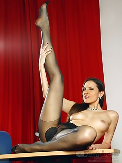 aPantyhose - Hot lustful secretary teases in sexy black pantyhose
