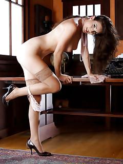 Leggy secretary in panties