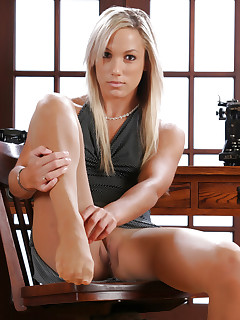 Office blond in pantyhose