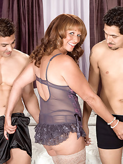 50 Plus MILFs - Ass-Fucked Times Two! - Sheri Fox, Juan Largo, and Sergio (55 Photos)
