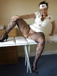 Horny mature nurse in her pantyhose and tight, short ass revealing pvc uniform.