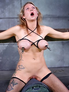 Real Time Bondage | Live BDSM Shows and Device Bondage | Rain DeGrey Screams Her Sybian Orgasms Through Cock